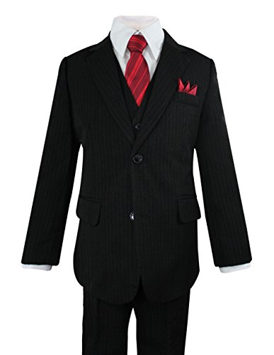Luca Gabriel Toddler Boys' 5 Piece Pinstripe Suit Handkerchief Set - Size 5