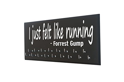Race bib and medal display - I JUST FELT LIKE RUNNING - FORREST GUMP - Running medal holder with Forrest Gump quote - Gift for - Running Quotes With Images