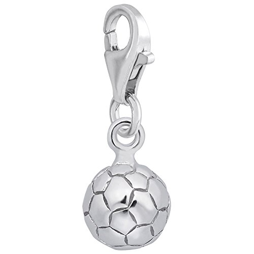 14k White Gold Soccer Ball Charm With Lobster Claw Clasp, Charms for Bracelets and ()