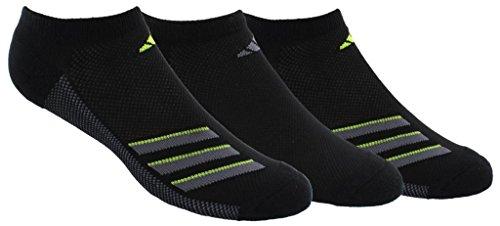 adidas Mens Climacool Superlite No Show Socks (3-Pack), Black/Onix/Semi Solar Slime, Size 6-12
