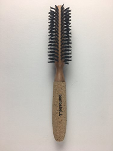 bombshell blowout Hair Brush Classic Round Sustainable Wood, Cork Handle, Boar Bristle (Small 1.25 inch) 2 ounce