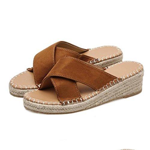 Zapatillas Playa Y Cordones de Alpargatas Bailarinas Chanclas de Elegante Sandalias Bohemia ASHOP Zapatos Cómodo Mujer Verano Marrón Cuero De y Cuñas de Planas Sandalias Las Moda 0wg0qn6aC