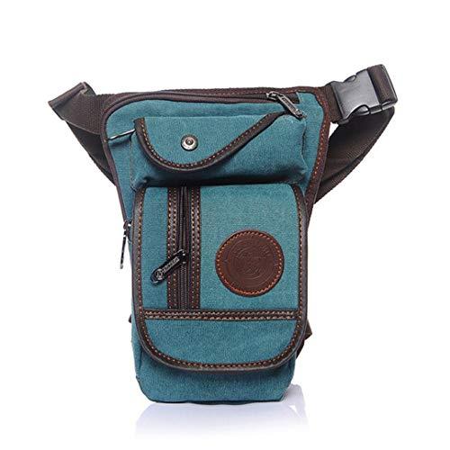 FreeStreetBo Men Waist Bag Military Canvas Fanny Packs Motorcycle Leg Bag Belt Hip Travel Multi-Purpose Shoulder Bags Light Blue