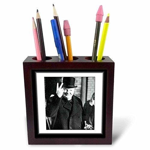 3dRose ph_98649_1 Vintage Photo of Winston Churchill.Jpg-Tile Pen Holder, 5-Inch
