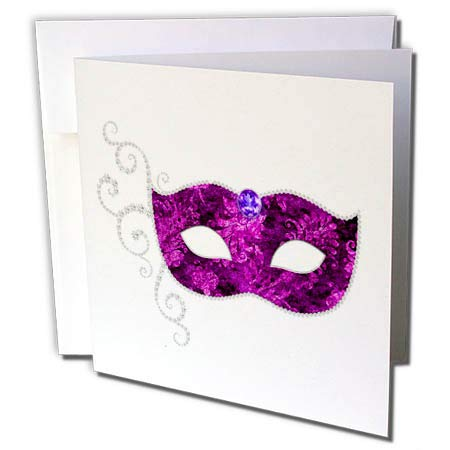3dRose Anne Marie Baugh - Illustrations - Glam Purple and Silver Color Image of Jeweled Costume Mask Design - 12 Greeting Cards with envelopes (gc_295450_2) -