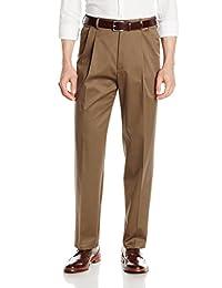 Haggar Men's Look Sharp Khaki Classic Fit Pleat Front