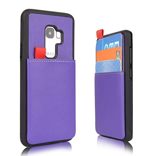 Price comparison product image MANGATA Triton Leather Wallet case Compatible with Samsung Galaxy S9 Plus / Slide Out Hidden Wallet Pocket,  Rugged Shell / Cruelty Free Leather / Credit Card & Cash Pocket,  Screen Protector (Purple)