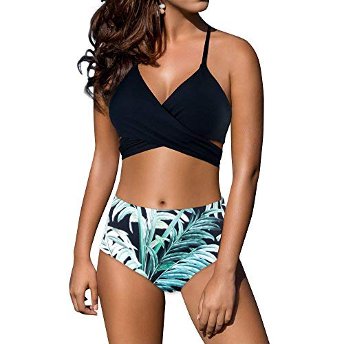 Criss Cross Tie Back - Pxmoda Womens Wrap Two Piece Swimsuit Halter Criss Cross High Waist Tie Back Bandage Bikini