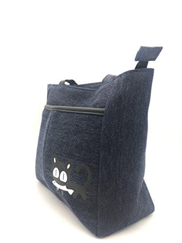 con lona de ShopINess Verde de Azul dibujo Bolso gato qUavtEFv