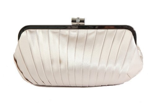 Berg nude by clutch pleated encrusted diamante satin bag Oyster Olga with closure PdTqP