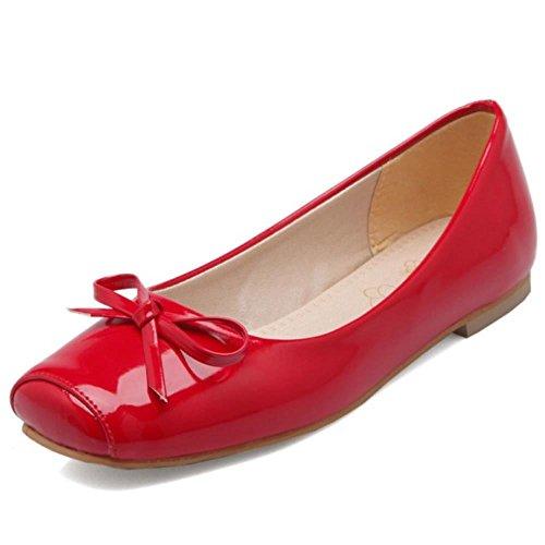 Størrelser Coolcept Ballett on Røde Slip Kvinner Flat Dolly Ekstra Pumper Med Gilrs Bue AAfPwR