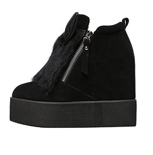 Platform Toe Suede Black Solid Womens Zip Wedges Boots Round Ladola ATqRFxw
