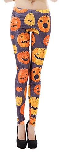 Pumpkin Lamp Printed Cute Skinny Legging Tights for Halloween Party Costume 2