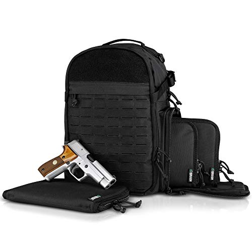 Savior Equipment Mobile Arsenal SEMA 19L Compact Military Heavy-Duty Tactical Range Bag Backpack w/ 3 Separate Pistol Case - Laser-Cut Style MOLLE & Lockable Zippers, Raincover Included