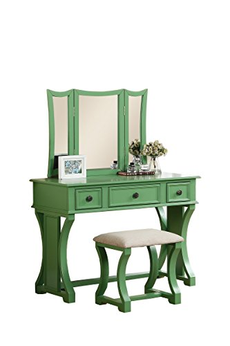 Poundex Bobkona Edna Vanity Set with Stool, Apple Green (Green Rustic Dresser)