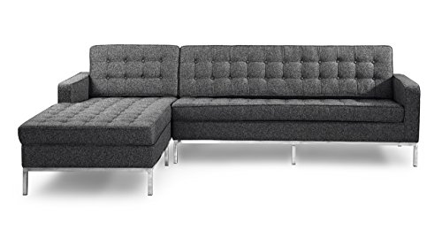 Kardiel Florence Knoll Style Left Sectional Sofa, Carbonite Houndstooth Twill