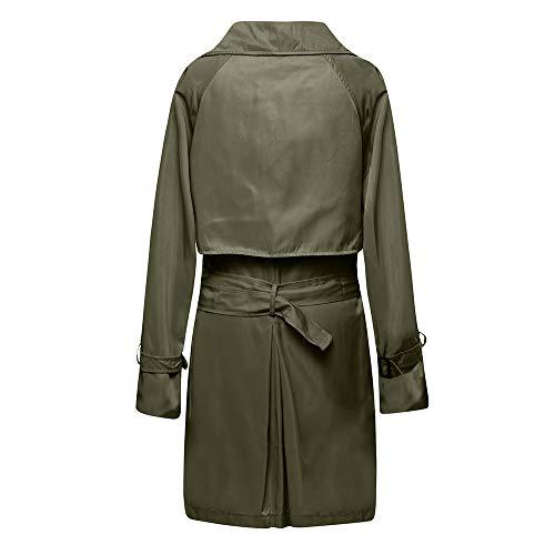Larga Npradla Para Verde Manga Liso Abrigo Mujer Casual rgqWwUIxg