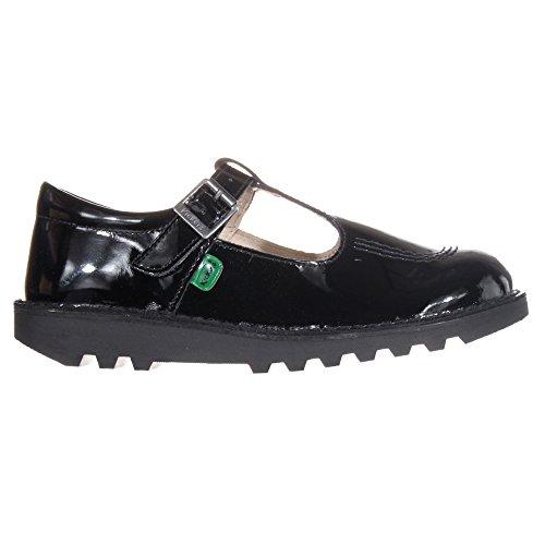 Kick Enfants École T KICKERS Barre Chaussures Noir Cuir En Verni Junior 0dwqp