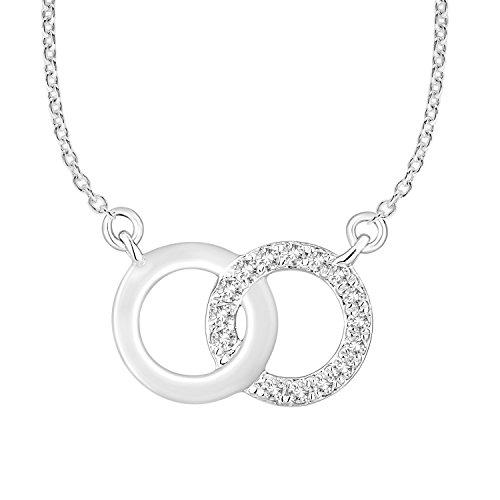 (10k White Gold Diamond Interlocking Open Circles Pendant Necklace (0.08cttw, IJ,)