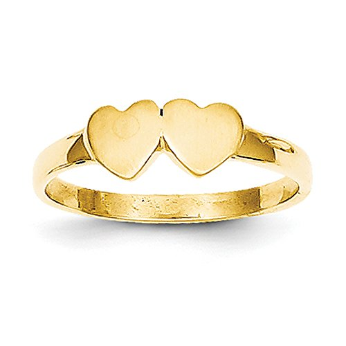 (Baby and Children 14K Yellow Gold Signet Double Heart Ring)