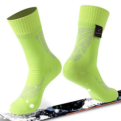 (RANDY SUN Waterproof Breathable Socks, Unisex Coolmax Cycling Running Trekking Socks, 1 Pair-Shiny Green-Mid Calf Socks,Small)