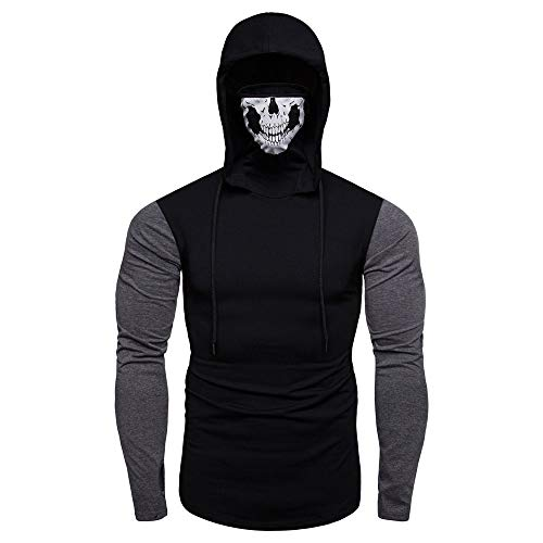 Fastbot Sweatshirts for Mens Mask Skull Splicing Pullover Long Sleeve Hooded Sweatshirt Tops Blouse Black