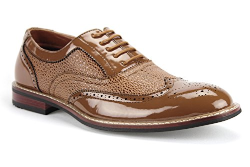 Mens Ferro Aldo 139001p Punta In Pelle Verniciata Classica Lace Up Dress Oxford Scarpe Marrone