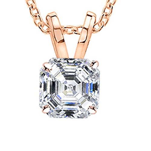 "0.9 Carat 14K Rose Gold Asscher Diamond Solitaire Pendant Necklace I-J Color VS1 Clarity w/ 18"" Silver Chain"