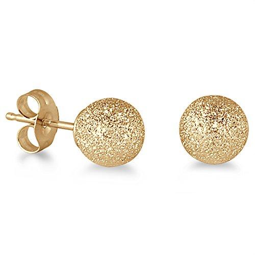 14K Yellow Gold 6mm Laser Cut Ball Stud Earrings (Earrings Stud Laser Gold)
