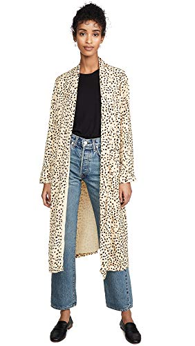 cupcakes and cashmere Women's Arianne Printed Soft Satin Duster Coat, Latte, Medium
