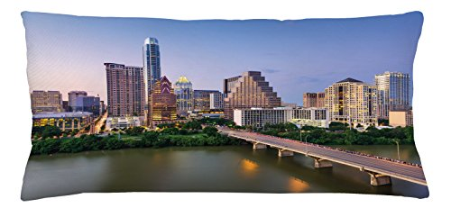 Ambesonne Modern Throw Pillow Cushion Cover, Austin Texas American City Bridge over the Lake Skyscrapers USA Downtown Picture, Decorative Square Accent Pillow Case, 36 X 16 Inches, Multicolor