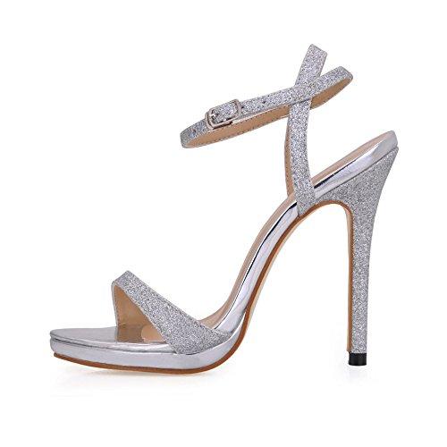Robe Couleurs Stiletto D'argent Sandales Multiples 12cm Chaussures Femmes Glittle Escarpins À Talons Sm00601 De De Simple rUwrx8f