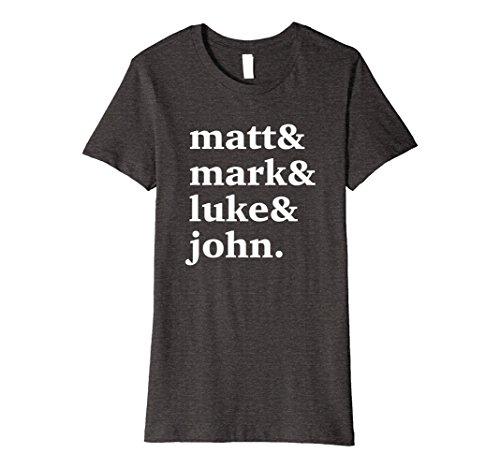 Womens Matt Mark Luke John T-Shirt Christian Church Bible Disciples XL Dark Heather by Faith Forever Shirts