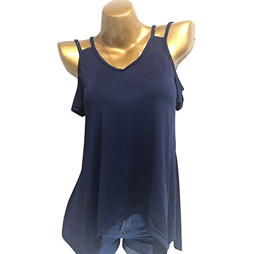 Clearance! Paymenow Blouse for Women Summer Sexy Cold Shoulder Cut Out Short Sleeve Irregular Hem Tunic Tops (L, Dark Blue) by Clearance! Paymenow (Image #2)