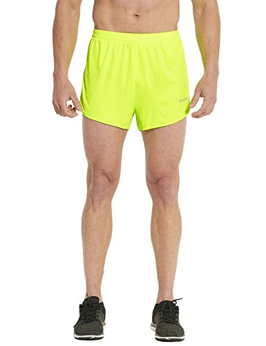 Baleaf Men's Quick-Dry Lightweight Pace Running Shorts Neon Yellow Size M