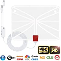 TV Antenna, Indoor HDTV Antenna 1080p/4K/2160p 60-95 Miles Range with 2018 Newest Type Switch Console Amplifier Signal Booster, USB Power Supply And 16.5 ft Coaxial Cable(White)