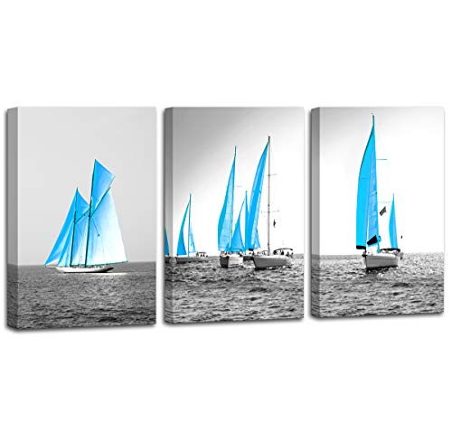 Wall Art for Living Room Sailboat Wall Decor 3 Piece Canvas Wall Art - Beautiful Sea Landscape, Sailboat Sailing on The Distance - Modern Home Decor Artwork Stretched and Framed Ready to Hang