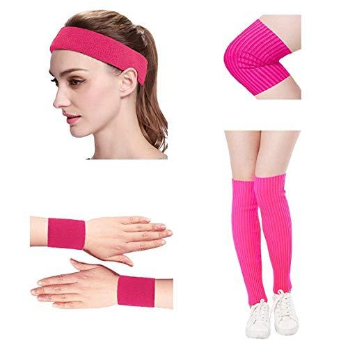 Kimberly's Knit Women 80s Neon Pink Running Headband Wristbands Leg Warmers Set (Free, zohotpink) ()