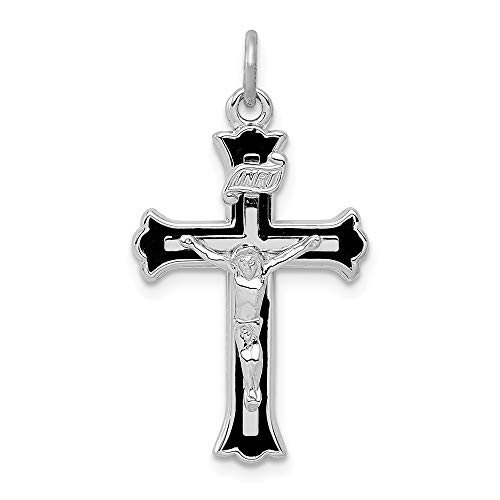 Solid 925 Sterling Silver Pendant Enameled INRI Crucifix Charm (28mm x 16mm)