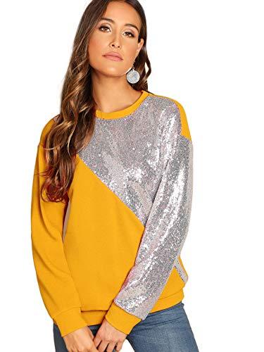 Yellow Sequin Top (Verdusa Women's Long Sleeve Sequin Sweatshirt Coloblock Tunic Top Pullovers Yellow)