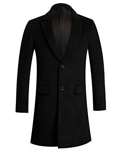 APTRO Men's Wool Coat Long Fashion Slim Fit Overcoat Jacket 1702 Black XL