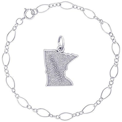 Sterling State Silver Minnesota Charm - Rembrandt Charms Sterling Silver Minnesota Map Charm on a Figaro Link Bracelet, 7