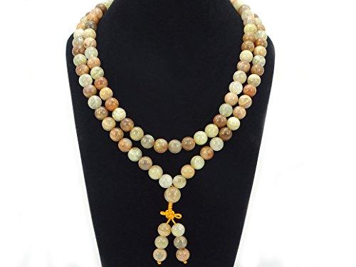 jennysun2010 Natural 10mm Sunstone Gemstone Buddhist 108 Beads Prayer Mala Long Necklace Multi-Purpose About 43(inches)
