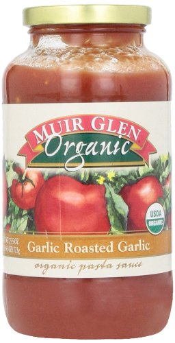 Muir Glen Organic Sauce, Garlic Roasted Garlic, 25.5-Ounce Glass (Pack of 6 )