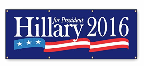 3 x 8 ft HILLARY CLINTON BANNER SIGN stars president democrat politics - Clinton Stores Outlets