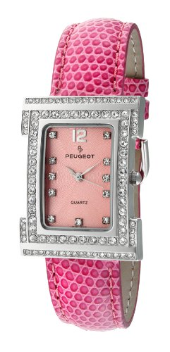 - Peugeot Women's 344PK Silver-Tone Swarovski Crystal Accented Pink Leather Strap Watch