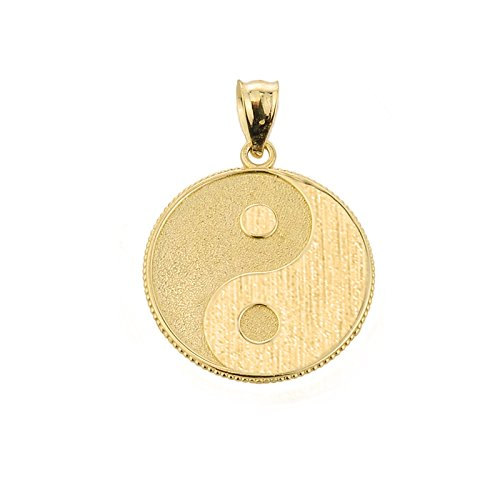 - Good Luck Charms 14k Yellow Gold Milgrain-Edged Yin-Yang Charm Pendant
