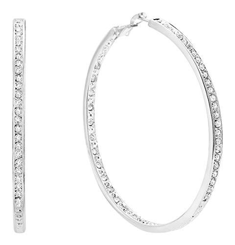 Bellina Bridal Wedding Austrian Crystal Rhinestone High Shine Inside-Out Hoop Earrings Silver Plated 2 3/8 inch - Crystal Earrings Austrian Silver Sterling