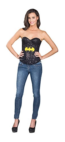 Rubie's 887553 Secret Wishes DC Comics Justice League Superhero Style Adult Corset Top with Logo Sequined Batgirl, Medium, Black