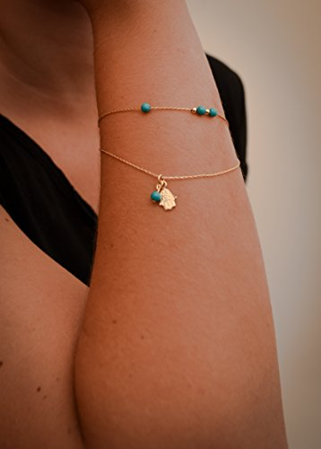 Bracelet Chain&link Gold Hamsa Turquoise Beads Layered Filigree Charm Chain Gold Fill Dainty Minimalist (Layered Link)
